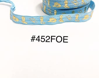 "3 or 5 yard - 5/8"" Gold Cowboy Boot and Hat on Mint Blue Fold Over Elastic Headband Hair Accessories Craft Supply"