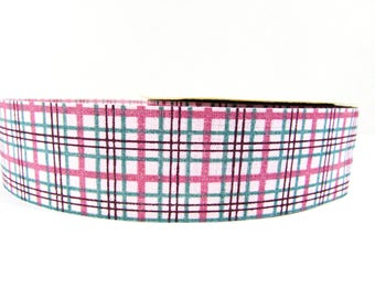 "Mauve and Green Plaid Ribbon Vintage Craft Supply 1 1/4"" Wide  7 Yards"