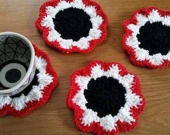 Daisy Coasters / Crochet Coaster Set / Daisy Coaster Set / Flower Coaster Set / Daisy Decor / Flower Decor / Crochet Coasters / Set of 4