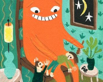 Funny Orange Cat Note Card -Whimsical Ginger Tabby Cat Grooms Girl . Outsider Folk Groomer, Grooming Artwork