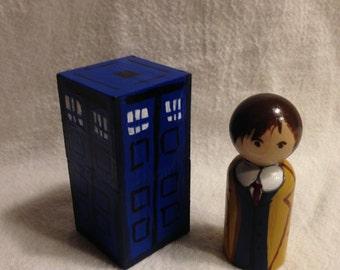 10th Doctor and TARDIS peg doll set