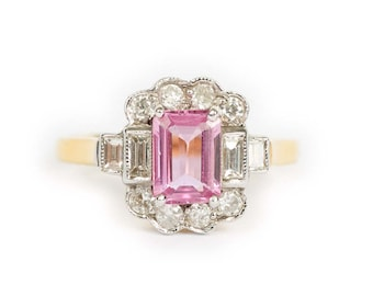 18ct Yellow Gold - Pink Sapphire - Diamond Halo - Solitaire Ring