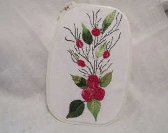 """Resilient Rose Hand Embroidery 10"""" x 7"""" Rectangle Hoop Art"""