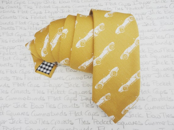 Sports car print neck tie, mustard or gold cotton neck tie, skinny tie, slim tie, standard width tie