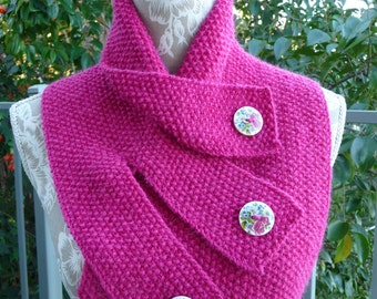 Alpaca & Pure Wool Buttoned Neck Warmer  -  1458