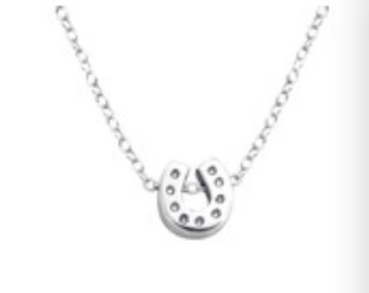 Mini Horseshoe Slide Equestrian Sterling Silver Necklace
