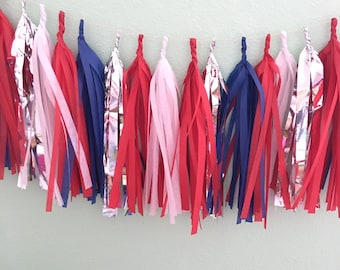 Red white blue silver Tassle Garland/ patriotic - / tassel garland / tassel banner  Tissue Paper garland america / Memorial Day/ 4th of july