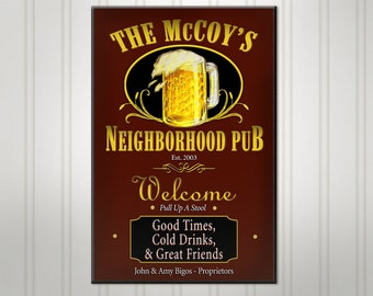 Large Personalized Neighborhood Bar Sign, Green or Burgundy Man Cave Sign, Custom Beer Sign, Personalized Sign, Personalized Bar Decor