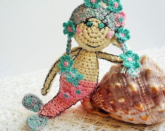 Crochet Mermaid Doll - Crochet Mermaid Toy - Mermaid Doll Plush Toy - Crochet Mermaid - Baby Shower Gift - Baby Nursery Decor - Photo Prop