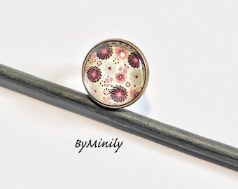 Ring cabochon round - Liberty - flowers - nature - daisies
