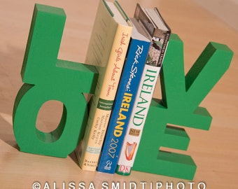 LOVE Wooden Bookends (wood bookends, St Patrick's Day decor, green, kelly green, nursery decor, love bookends, bookends, christmas gift)