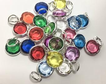 Birthstone Crystal Bead Charm, Dangling, Colour Bead, Personalize, Custom, Gift Ideas, Amethyst, Blue Zircon, Peridot, Sapphire, Rose, Color