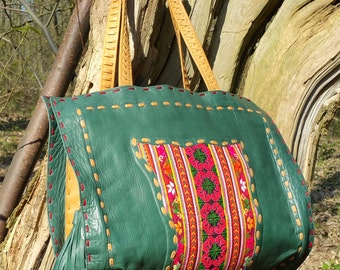 Kochi Shopper, Handmade Leather Handbag featuring Vintage Textiles