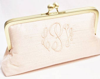 Monogrammed Silk Dupioni Clutch - Wedding Clutch - Bridesmaid Clutch - Blush, Ivory, White, Silver