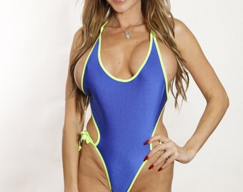 Bitsy's Bikinis Sexy Solid Electric Blue Monokini Scrunch Butt Micro One Piece Barely There Swimsuit Tiny Swimwear Neon Green String