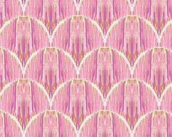 Fabric by the Yard - Indigo & Aster Courbe Ikat Rose by Bari J for Art Gallery Fabrics