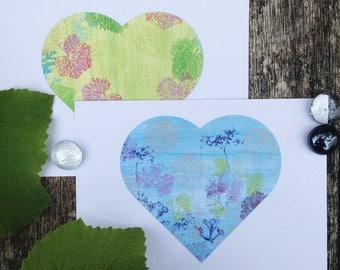 Printable Botanical Heart Postcards, Corokia Studio Design, leaf art.