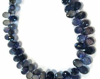 Iolite micro-faceted teardrops.  Select a size: 5mm - 7.5mm in length.