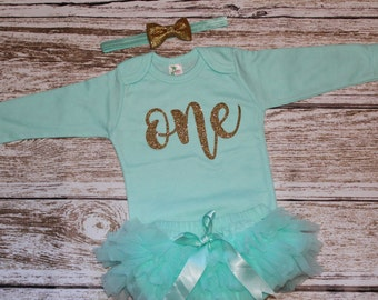 Girls First Birthday Outfit, Girls One Shirt, Pink and Gold First Birthday Shirt Outfit Girls