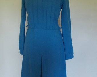 Vintage dress 80s by Gerard Hosey of Ireland cobalt blue peter pan collar dress size small