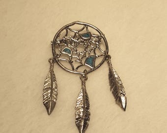 Silver with Turquoise Inlay Dream Catcher Pendant