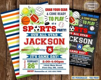 Sports / All Star / Birthday / Invitation / Invite / Soccer / Baseball / Basketball / Football / hockey / tennis / chalkboard / ball /BDSP32