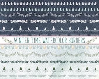Winter Borders Clipart, Watercolor Clipart, watercolor borders, Christmas borders, Christmas Tree borders, Snowman Borders,