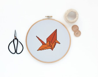 SET of 4 Paper Origami Flapping Birds - Modern cross stitch pattern PDF - Instant download
