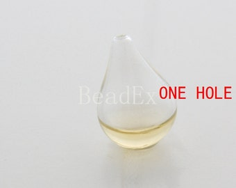 6 Pieces / Hand Blown / Hollow Glass Beads / Tear Drop / One Hole 26x17mm (28H5/G136)