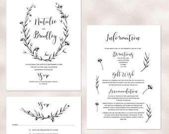 Sweet nature - simple, personalised boho wedding invitations with matching accessories