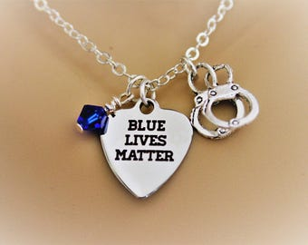 Blue Lives Matter Stainless Steel Laser Engraved Heart Necklace With Silver Handcuff Charm and Blue Swarovski Crystal Police Wife Necklace