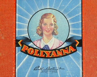"""1940s Pollyanna Game Board, Parker Brothers Board Game """"Nice Graphics"""""""