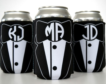 Groomsmen Beer Sleeve | Tuxedo Can Coolers | Bridal Party Favors | Groomsmen Initial Monogram | Beer Cozy | Can Coolies for Wedding | Tux