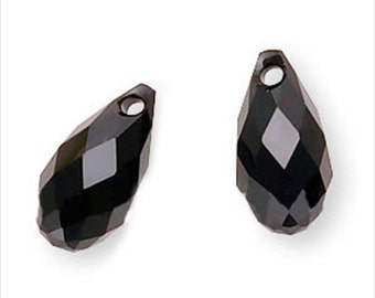 Swarovski Crystal 6010 Briolette Pendants 11x5.5mm  2 Pieces Jet Black