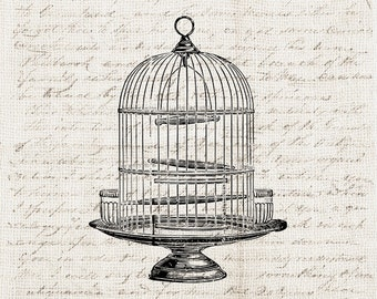 Vintage Illustration Digital Download - Antique Vintage Bird Cage Birdcage Clipart Graphic Print Transfer Craft Scrapbook INSTANT DOWNLOAD