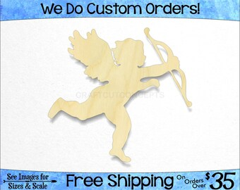 Cupid Shape - Large & Small - Pick Size - Laser Cut Unfinished Wood Cutout Shapes Love Valentines Day Heart Wedding Shower (SO-0053)*2-24