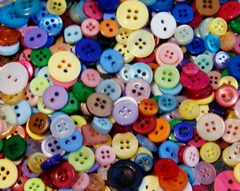 200 Small Button Mix , Rainbow Mix assorted sizes and shapes, Sewing, Crafting, Jewelry  (591 B)