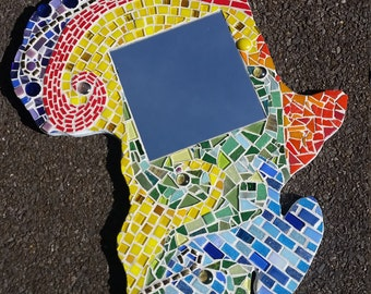 Mosaic African Map Mirror - The Journey