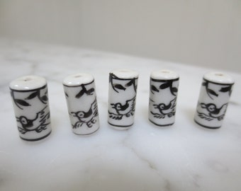 Vintage Black and White Hand painted Bird Beads Set of 5