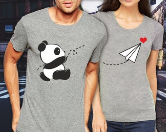 Love + Panda funny matching t-shirt set, Pärchen couple, wedding, honey moon, anniversary gift
