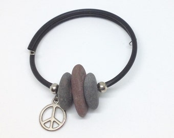 Lake Superior stone rubber coated memory wire bracelet