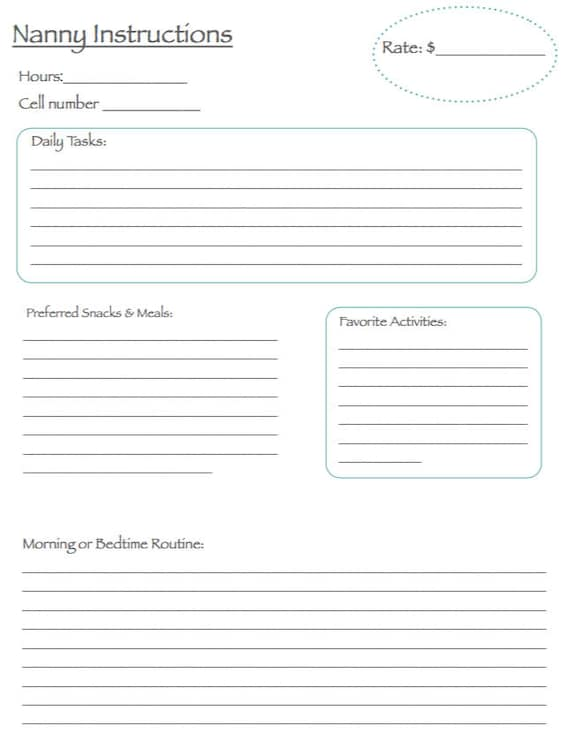 Nanny Instructions Emergency Contact Form Download
