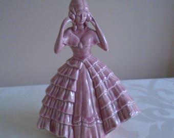 pink ceramic crinoline lady figurine repaired