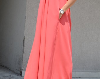 Bridesmaid dress, orange color long bridesmaid dress, bridesmaid long coral dress, floor length dress, loose fit dress, long coral dress
