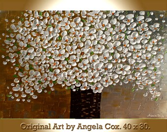 Original Contemporary  White Gold Silver Flowers Acrylic Impasto Textured Fine Art Landscape  Palette Knife Painting.