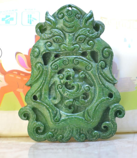 Carved jade pendantgreen jade pendantchinese dragon phoenix jade carved jade pendantgreen jade pendantchinese dragon phoenix jade pendant animal jade necklace wholesale gemstone bead supplies from diygem on etsy studio aloadofball Images