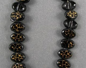 RARE Vintage Glass Nail Heads - Black with Gold