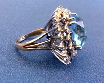 Große Aquamarine Blue Topas Vintage Ringgröße 9