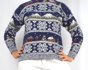 Vintage 80s 90s Woolrich Knit Snowflake Ski Sweater (size medium)
