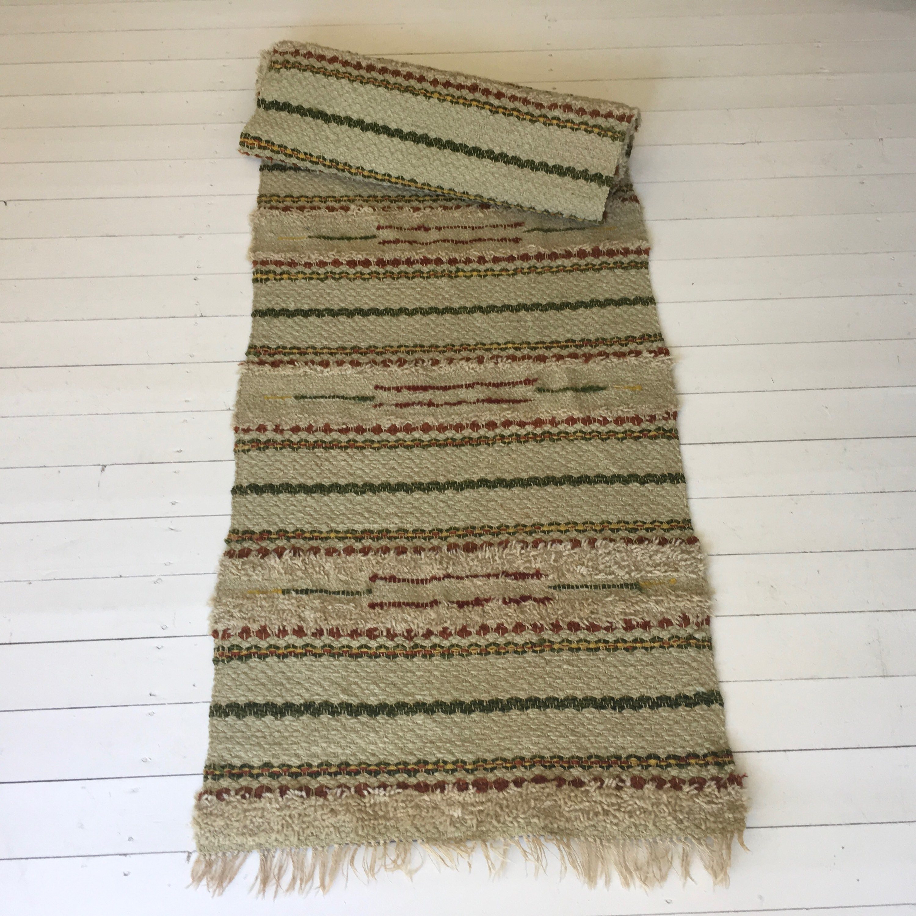 New Vintage Swedish Rag Rug in Green,Yellow and Brown Colored Stripey  UU59